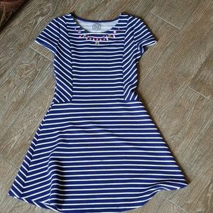 Girls navy striped spring dress 12